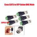 Envío gratis 20 UNIDS CAT5 Coaxil A Cctv BNC UTP Video Balun Adaptador de Conector BNC Plug Para El Sistema de CIRCUITO CERRADO de televisión