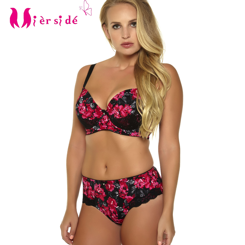 Mierside 955 Hot Sale Women Sexy Underwear Plus Size Printing Push Up   Bra     Set   sexy casual   brief   and bralette
