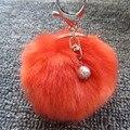 Pom Pom Pele Chaveiro Bola-Moda 8 cm de Carro Bola de Pêlo KeyChain 13 Cores Prata Banhado A Chave Anel com Pérola Saco Bolsa Pendente
