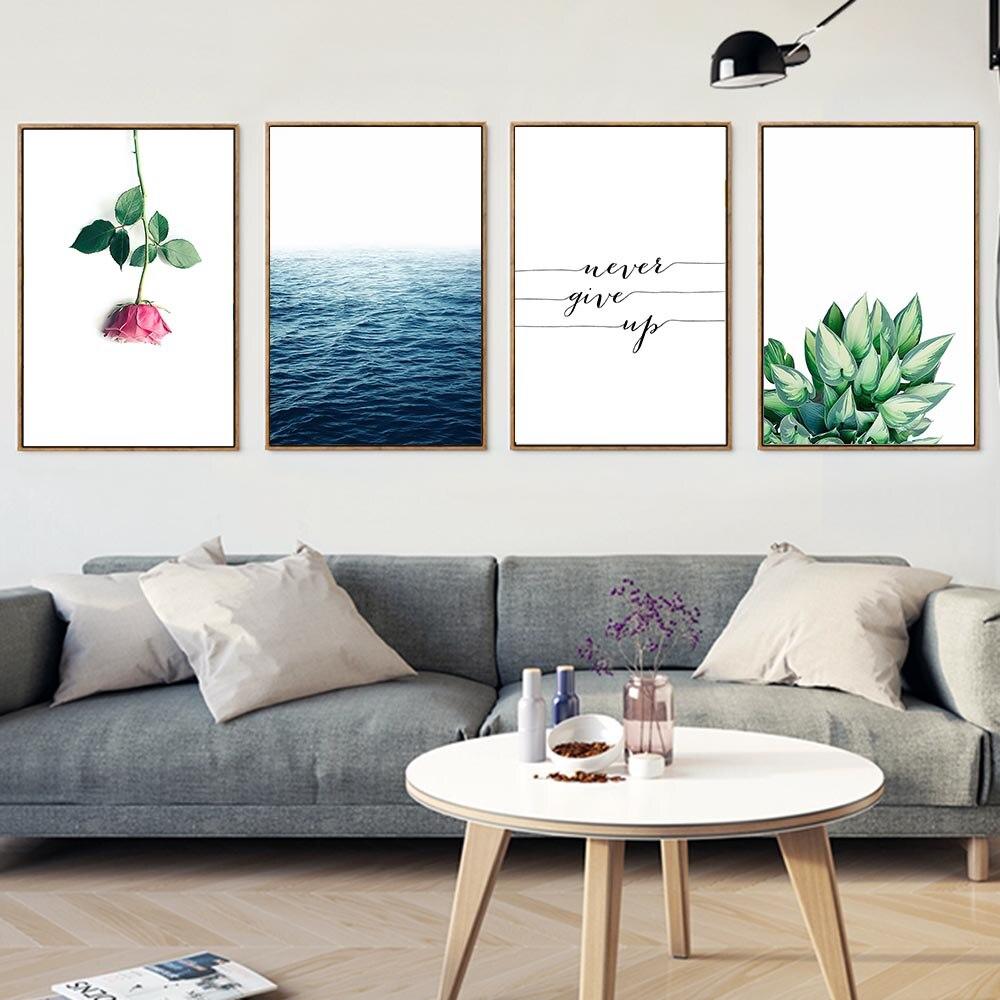 US $3.3 41% OFF|Sea Flower Inspirierend Zitat Leinwand Poster Landschaft  Leinwand Nordic Malerei Wandbilder für Wohnzimmer Wohnkultur-in Malerei und  ...