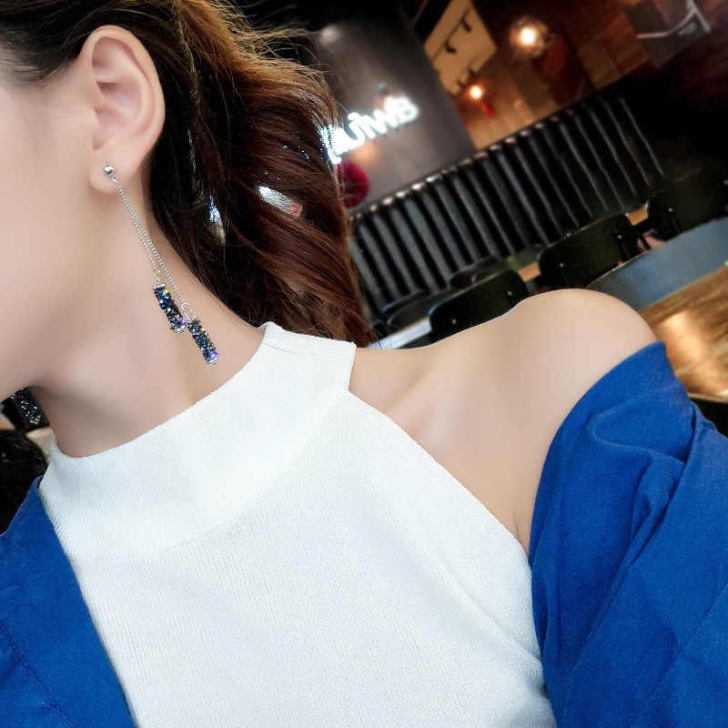 เกาหลี high-end เลียนแบบสีฟ้า rhinestone พู่ต่างหูยาวต่างหูรูปทรงเรขาคณิต