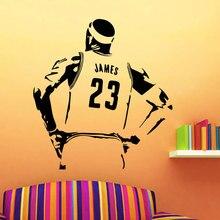 No. 23 basket ball étoile vinyle autocollant Mural jeunesse chambre activité salle basket ball Sports amateurs Art déco décoratif Mural 3YD22
