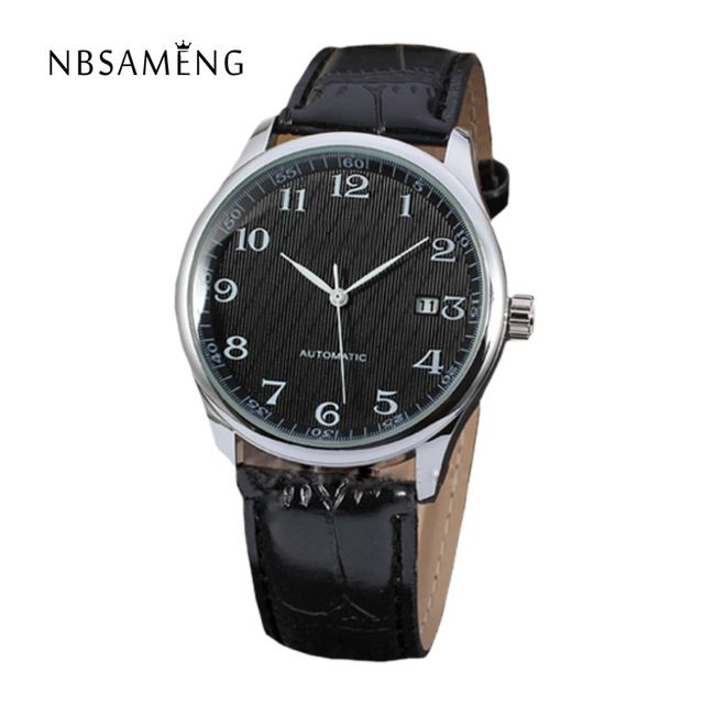 Automatic Mechanical Leather Watch Self-Winding Man Wristwatch Free Shipping Brand Classic AUTO Date Male Watches LZ305 huhao 1pc 4mm one flute spiral cutter router bit cnc end mill for mdf carbide milling cutter tugster steel router bits for wood