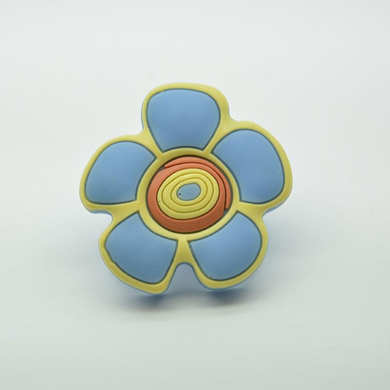 Soft Rubber Blue flower Knobs Kids Drawer Handles Furniture Bedroom ...