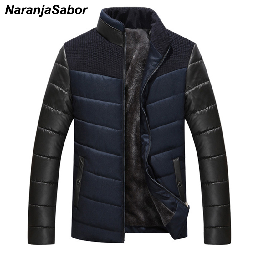 NaranjaSabor Winter Men's Thick Coats Casual Cotton Warm Slim Fit Spliced   Parkas   Stand Collar Thick Jackrts Mens Brand Clothing