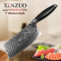 XINZUO 7 inch Cleaver Meat Kitchen Knife Forged 3 Layer 440C Core Clad Steel Stainless Steel Knife for Vegetable Meat G10 Handle