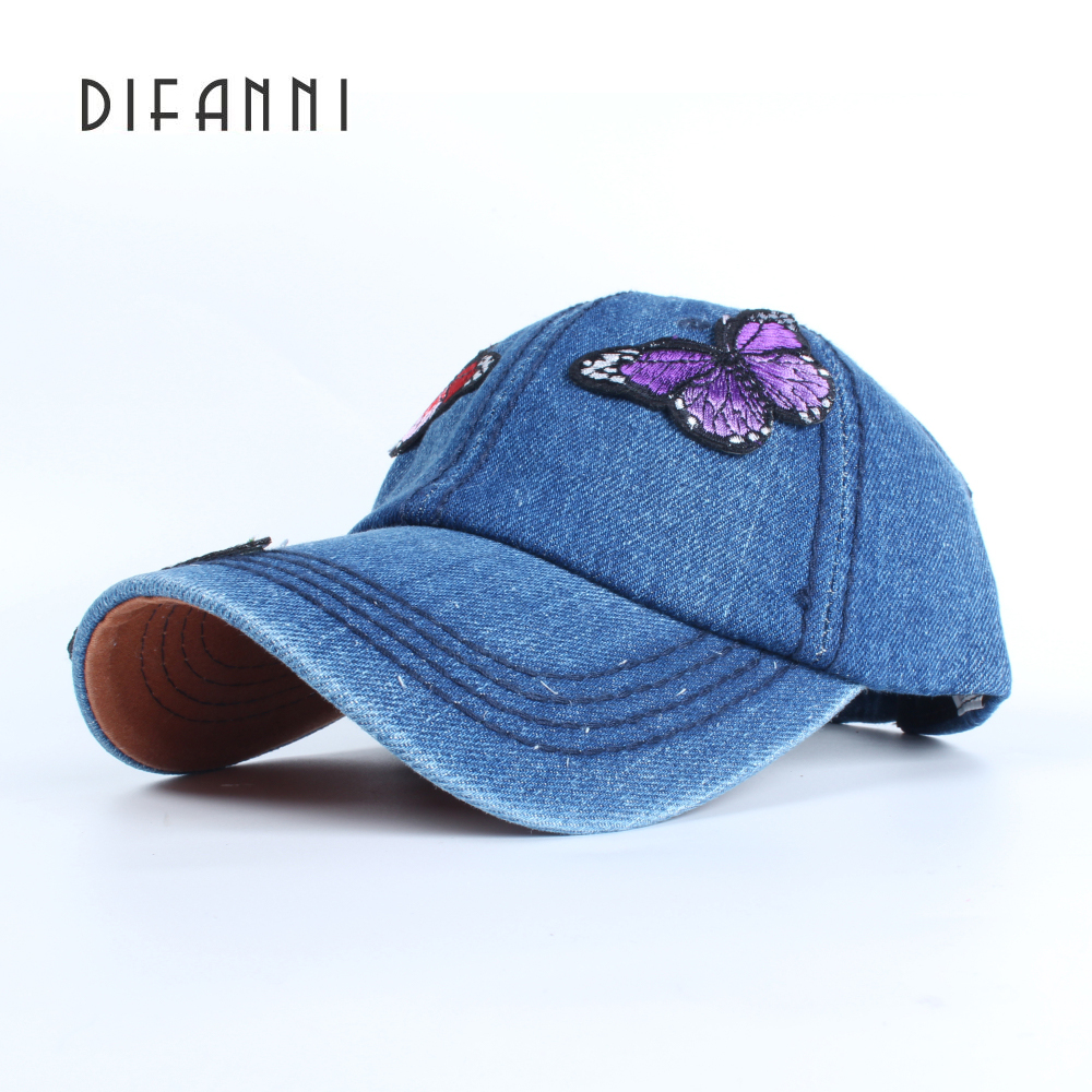 New Fashion Cowboy Baseball Cap Butterflies Stickers Sanpback Hats For Women Fitted Washed Denim Jeans Hat Unisex Hip Hop new 2017 fashion unisex cap bones baseball cap snapbacks hat simple hip hop cap casual sports female hats wholesale