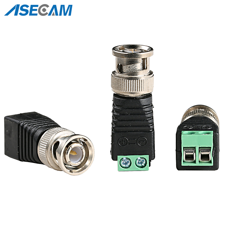 BNC Video Balun Connector Plug Adapter Mini Coax CAT5 To Security Camera For CCTV System Accessories Free Shipping
