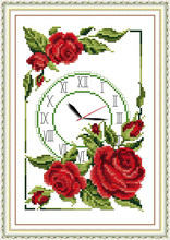 garland of roses clock cross stitch kit 14ct 11ct count print canvas wall clock stitches embroidery DIY handmade needlework plus(China)