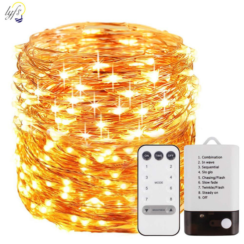 50/100/200 LED Copper Wire Light String  Battery USB Dual Power 8 Modes Fairy Lights String For Christmas/Wedding/Party