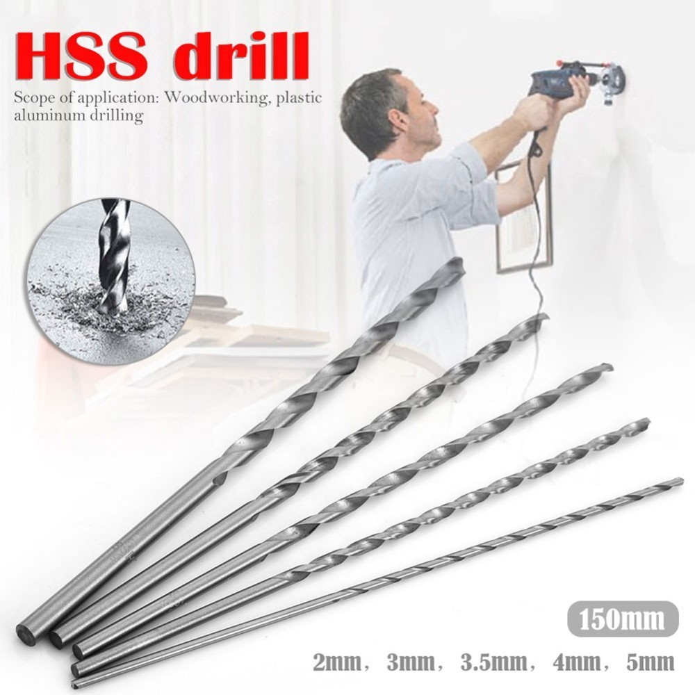 5 Pcs Mayitr HSS Auger Twist Drill Bit Set 2/3/3.5/4/5 Mm Diameter160mm Extra Long Straight Shank Drill Bits For Electric Drills