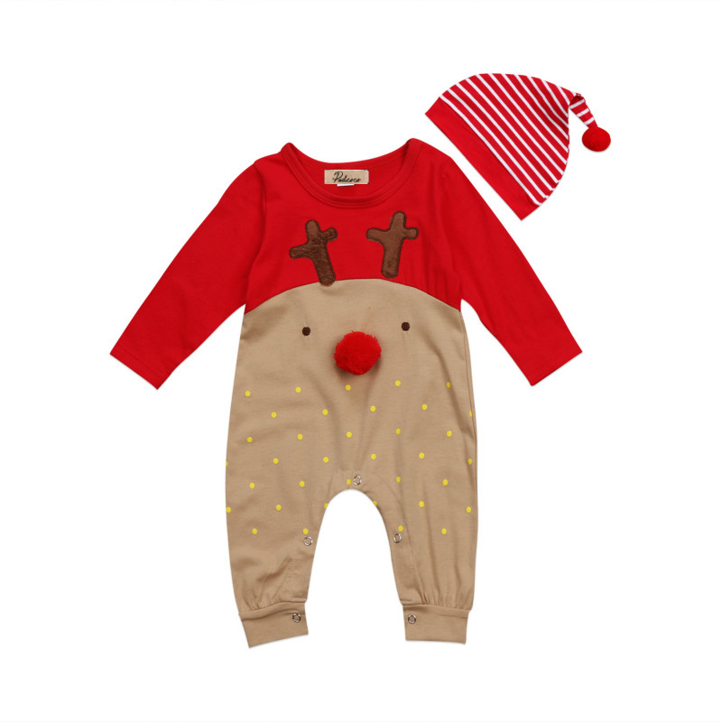 Newborn Baby Boys Girls Christmas Reindeer   Romper   Striped Hats 2Pcs Clothes Set Kids Cotton Long Sleeve Xmas Clothing Outfit Set