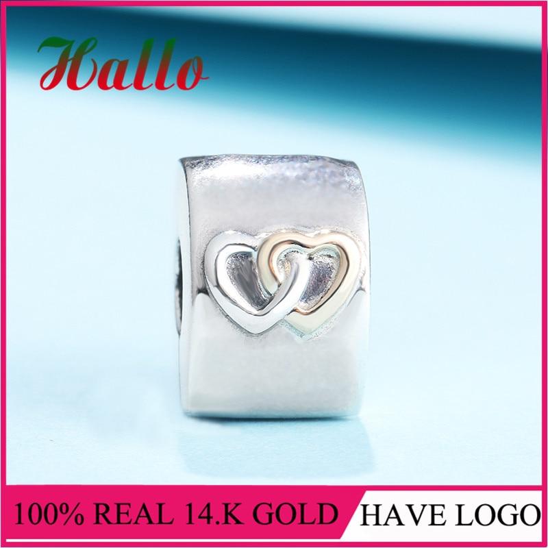 LS nouveauté 14. K G. vieux & 925 argent cœurs Aglow Clip charmes Fit Original Bracelets Pulseira Pingentes.100 % bijoux fins N