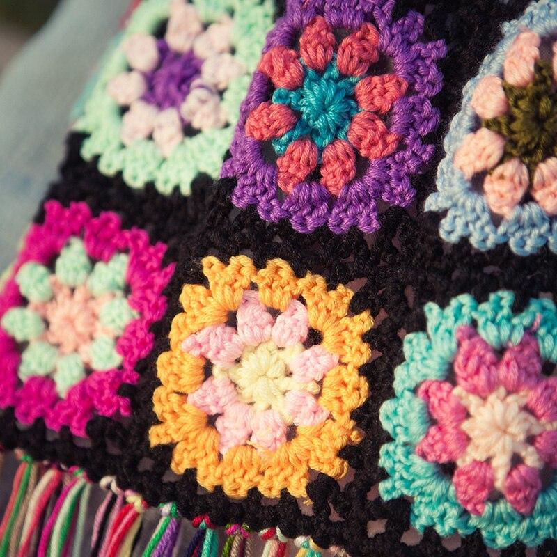 Chemin de Table au crochet/crochet fait main fleurs colorées cachemire soie creuse dentelle gland/beaucoup d'utilisations Wrap écharpe cadeaux/Unique