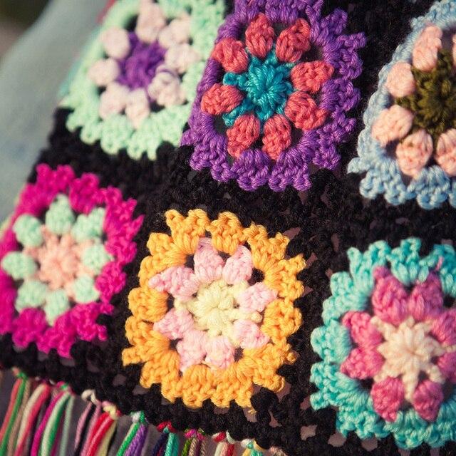 Gehaakte Tafelloperhandgemaakte Haak Kleurrijke Bloemen Kasjmier