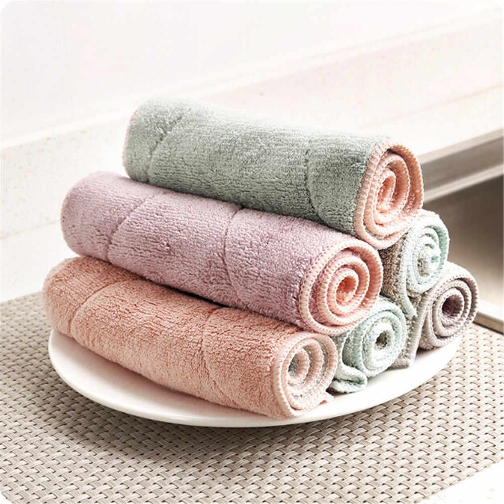 1 قطعة ألياف الخيزران تنظيف اليد المطبخ طبق القماش أطباق غسل القماش تنظيف منشفة