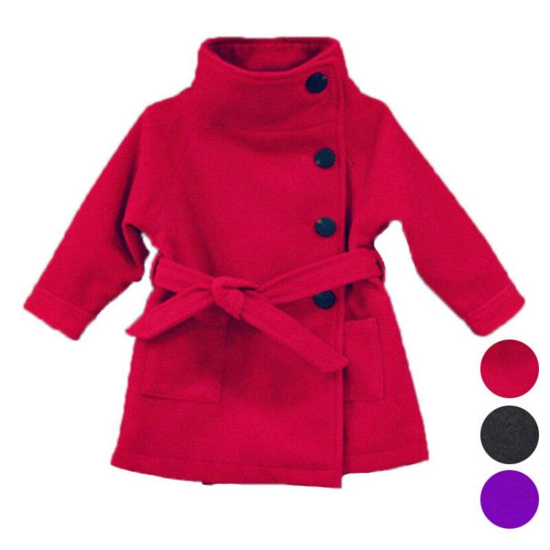Girls woolen coat 2018 new fashion girls European and American style spring and autumn children's woolen coat girl coat one button design longline woolen coat