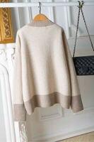 2019 Новый v образный вырез Сращивание шерстяной свитер цвета Размеры женская зимняя одежда