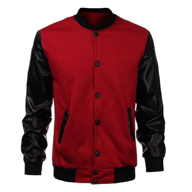 2017 Fashion Design Cool College Baseball Jacket Men Black PU Leather Sleeve Sweatshirt Mens Slim Fit Varsity Bomber Jacket