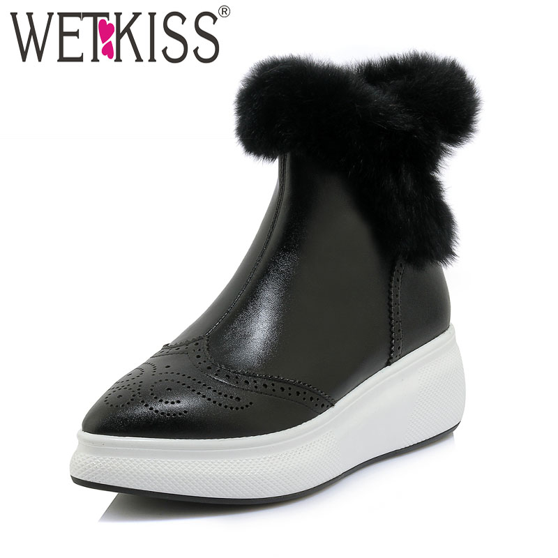 WETKISS Cow Leather Women Ankle Boots Pointed Toe Footwear Flat With Fur Female Boot Platform Snow Girl Shoes Woman Winter 2018 рябченко в ред репка сказки