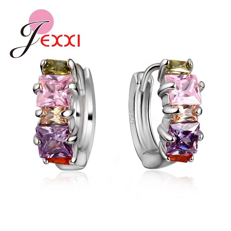 Promotion Elegant S90 Silver Color Circle Hoop Earring Colourful Cubic Zirconia Crystal Piercing Earrings Brincos Ear Jewelry