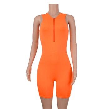 Simenual Fitness Sporty Active Wear Sleeveless Playsuit Athleisure Neon Color Rompers Women Zipper Biker Bodybuilding Jumpsuits 8