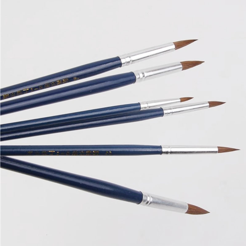 Weasel Hair Paint Brush Sharp Round Peak Water Color Acrylic Painting Brush Pen 6 Pcs/suit Supplies Professional Art Supplies