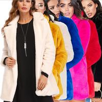 2019 New Design Solid Colour Long Sleeve Faux Fur Cardigans Women's Loose Outwear Turn Down Collar Winter Jackets Coats Jumper