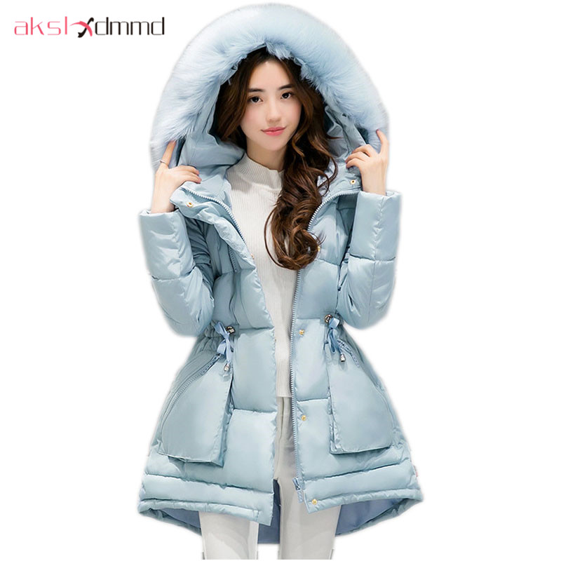 AKSLXDMMD Parka Women Winter Jacket 2017 New Fashion Winter Slim Fur Collar Hooded Asymmetry Mid-long Coat Female LH1002 akslxdmmd fashion casual winter thick hooded jacket 2017 new parka women parttern letters mid long coat female overcoat lh1227