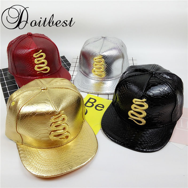 2017 Autumn Leather Baseball Cap Brand Golden snake Hat For Men Women Europe Hip Hop Snapback Caps Metal Logo spring Hats wholesale spring cotton cap baseball cap snapback hat summer cap hip hop fitted cap hats for men women grinding multicolor