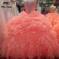 2018 Ball Gown Coral Prom dresses Long Sweetheart Beaded Organza Ruffles graduation dresses Evening Prom Dress for Women