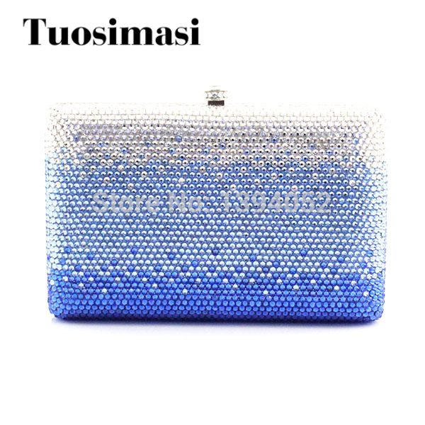 Crystal evening handbags fully crystal covered ladies evening bags white and blue party clutch bags delicate handmade ladies evening crystal clutch fashion women bags handbags