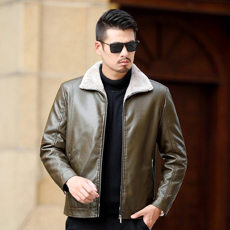 Caliente Black Forro 2 Chaquetas Outwear Del Polar kahki Motocicleta Cuero black 5 Colores Genuino green Espesar Mens brown qBxHS70wx
