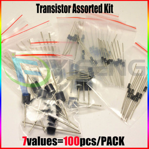 1N4001 1N4004 1N4007 1N5819 1N5399 FR107 RL207,7values=100pcs,Electronic Components Package,Diode Assorted Kit