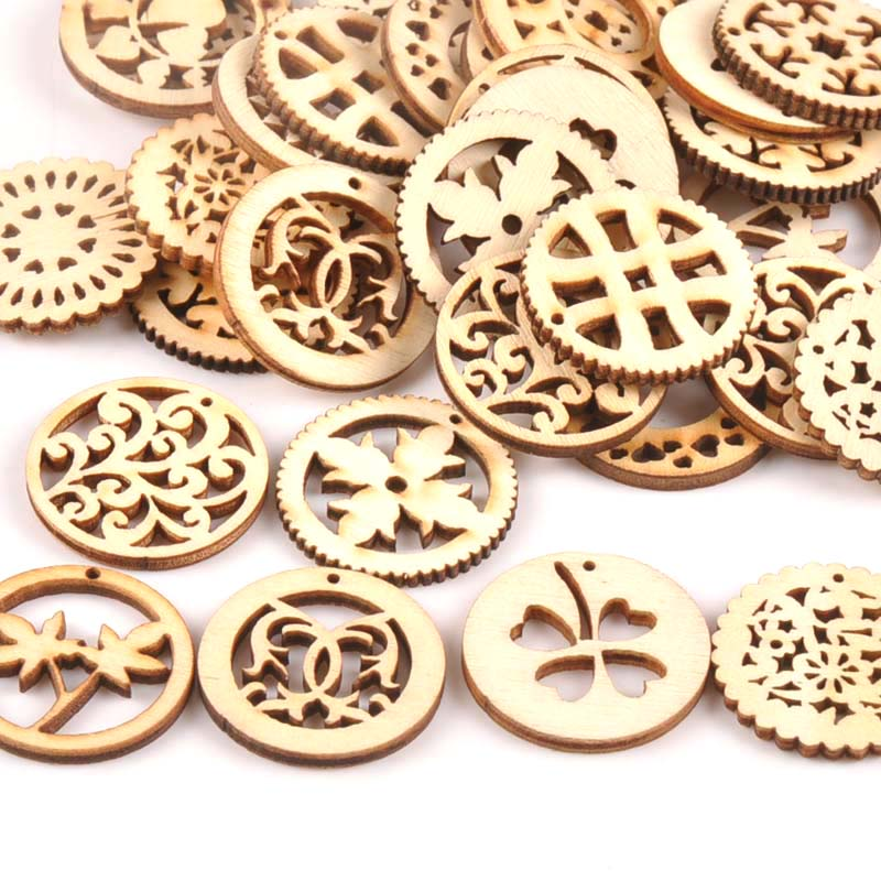 25pcs Creativity Wreath Pattern Wooden Scrapbooking For Wood Decoration Handmade Accessory Sewing Home Decoration M0692X