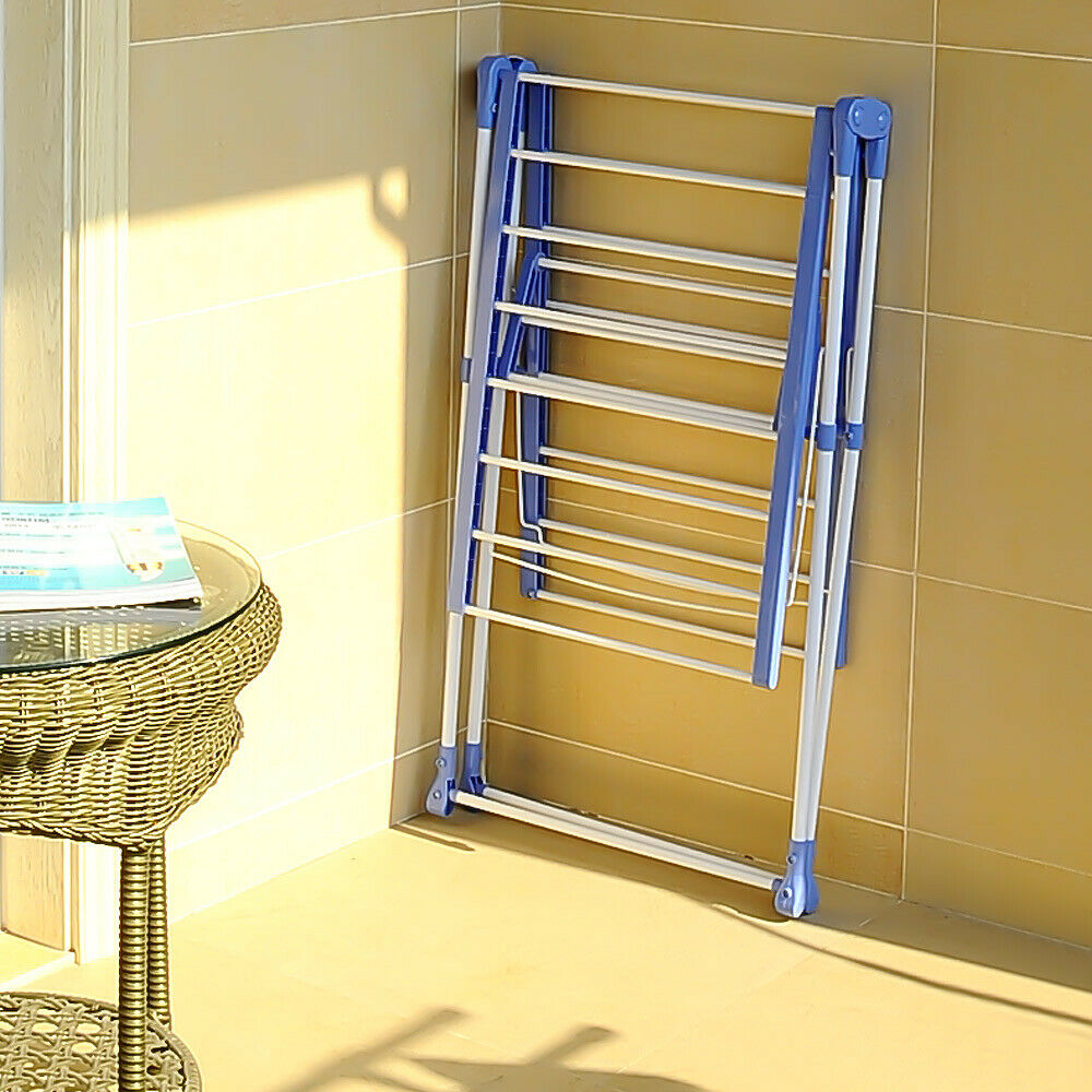 Wing Shape Foldable Laundry Clothes Storage Drying Rack Airer Portable Dryer Hanger Organizer Pole Indoor outdoor Balcony DQ0820 - 3