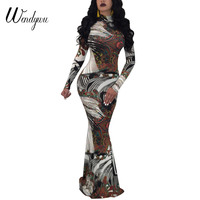 Wendywu Novelty Fashion Turtleneck Long Sleeve Special Print Women Autumn Mermaid Long Dress
