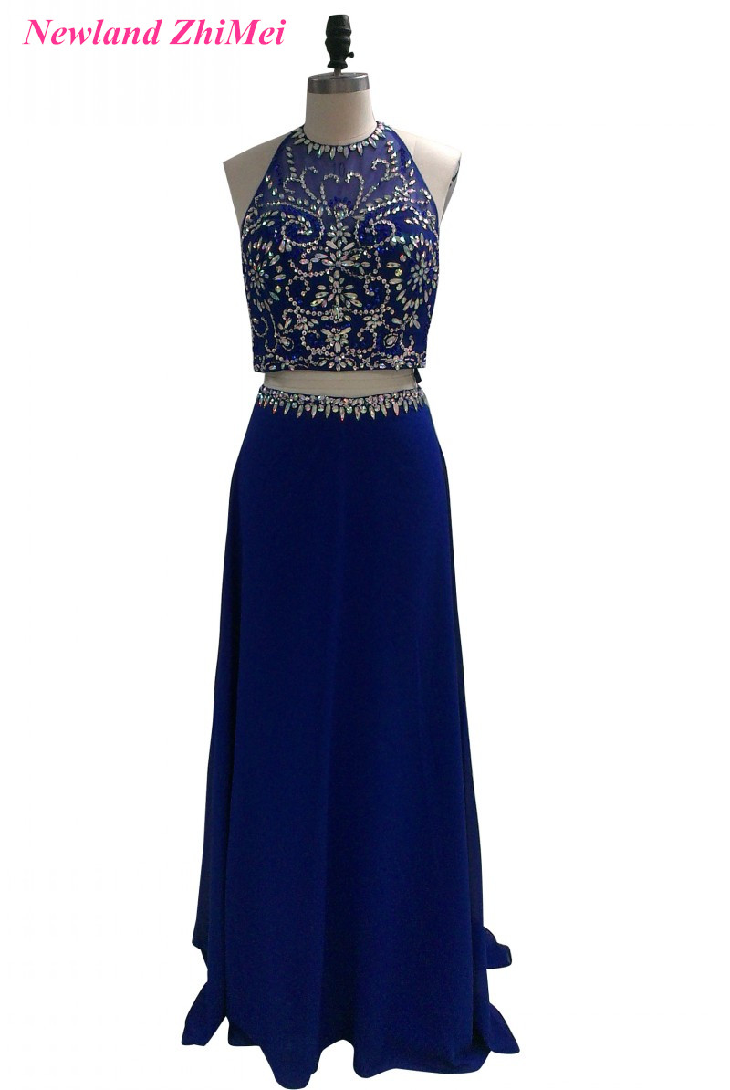 Royal Blue Long Chiffon   Prom     Dress   with Crystals Beautiful Backless Two Pieces Evening Party Gowns   Dresses   Custom Made