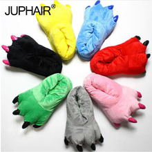 Boys Girls Slippers Winter Warm Thicken Insole Cotton Slipper Shoes Paw Animal Funny Christmas Dinosaur Monster Claw House Plush недорого
