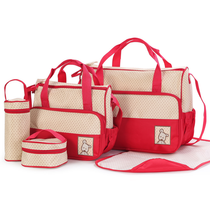 5 Pieces Diaper Bag Sets Dot Nappy Bags Large Capacity Changing Bag Tote Baby Hobos Cute Nursing Bag Maternity Baby Care