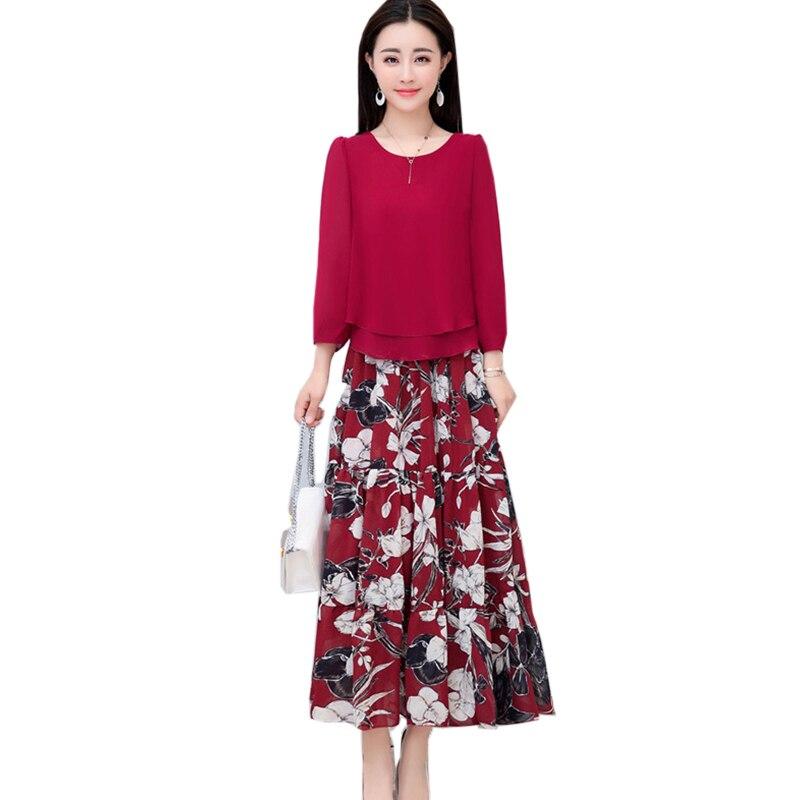 Élégant deux pièces femmes 2018 nouveau printemps femmes en mousseline de soie chemise T fashion taille élastique imprimé en mousseline de soie étape jupe YM462