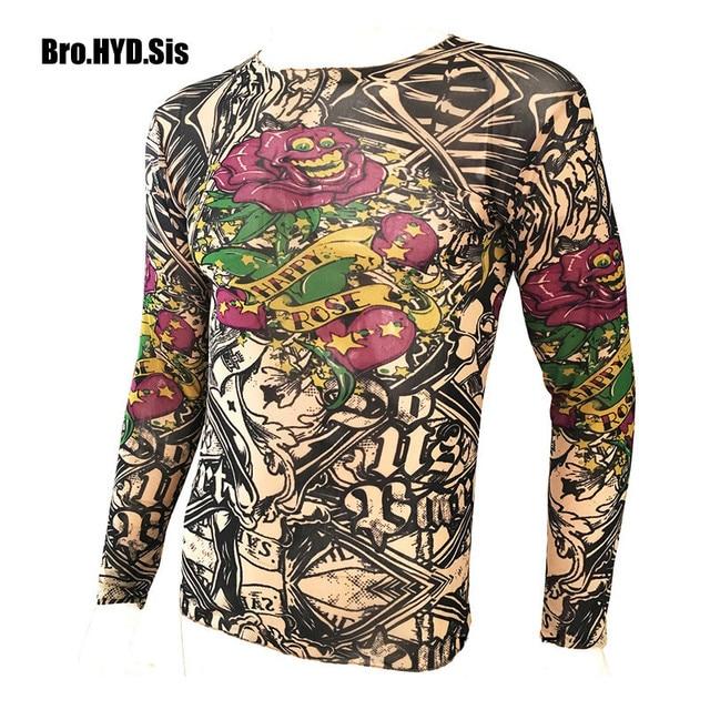 6257e5ccac5e Funny Long Sleeve Fake Tattoo T Shirts All Over Print Men Women Arts Shirt  Elastic Slim Fit Modal Thin Halloween Clothes