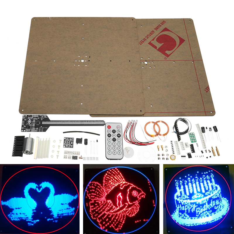 Flat POV 64 LED Rotating Advertising Light DIY LED Flash Kit Electronic LED Production Module
