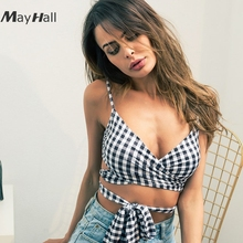 MayHall 2018 Summer Plaid Crop Top Sleeveless Sexy Lace Up Tank Tops Women Backless Casual Blusa  MH155