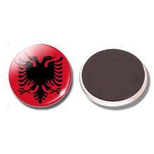 The Republic of Albania National Flag 30 MM Fridge Magnet Glass Cabochon Magnetic Refrigerator Stickers Note Holder Home Decor(China)