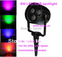 good quality high power RGB 9W LED Garden light with spike!! Spike LED spotlight Edison chip 3*3W RGB 3in1 12VDC