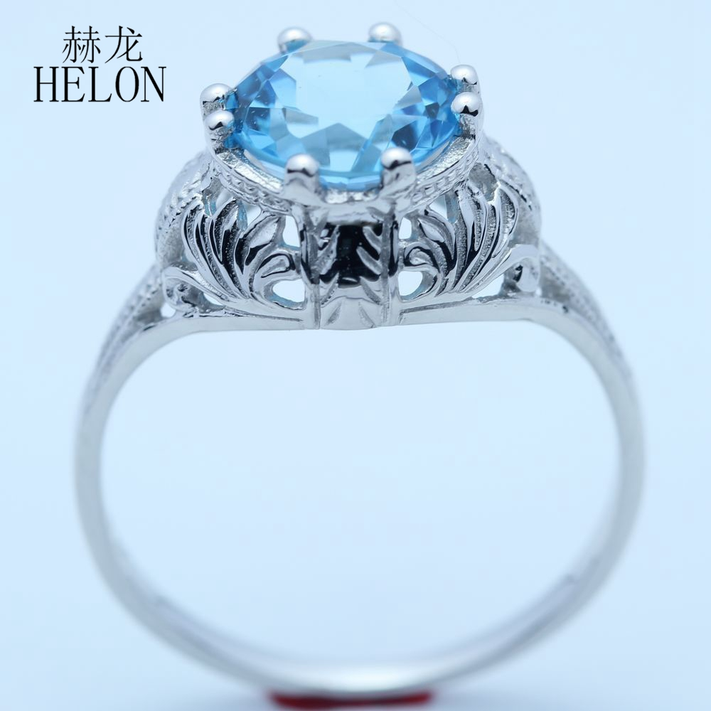 HELON Solid 10k White Gold Flawless 8mm Round Genuine Blue Topaz Engagement Wedding Vintage Cocktail Engraving Art Nouveau RingHELON Solid 10k White Gold Flawless 8mm Round Genuine Blue Topaz Engagement Wedding Vintage Cocktail Engraving Art Nouveau Ring