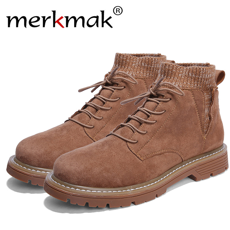 Merkmak Men Hiking Shoes 2018 New Design Rubber Sole Non-slip Outdoor Breathable Sport Shoes High-top Sneakers