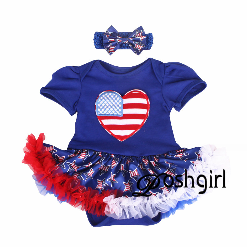 Summer Baby Girl Clothes American Independence Day July 4th Outfits Party Toddler Lace Romper Dress Headband Set Ropa De Bebe