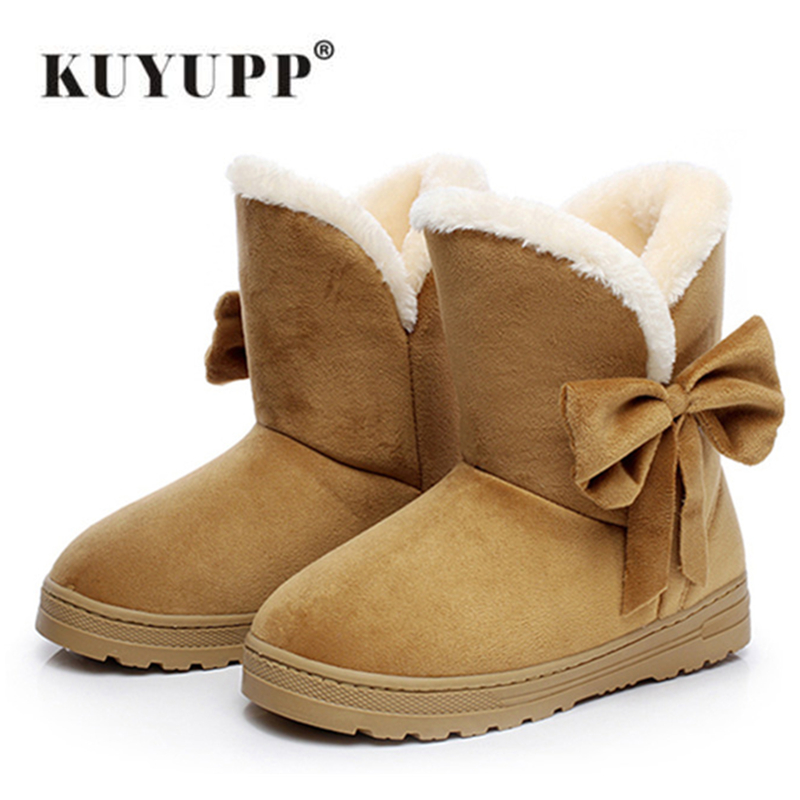 KUYUPP Flock Women Snow Boots Short Plush Winter Shoes 2017 Flat Heels Warm Plush Ankle Boots Round-toe Female Women Shoes DX905 warm women winter boots women ankle snow boots cowhide sweet flowers round the end of short barrels bread shoes mianxie